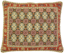 "18"" x 22""Handmade Wool Needlepoint Petit Point Mossy Design Mauve Navy Pillow"
