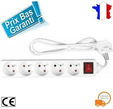 Multiprise 5 Bloc Prise Electrique10/16 A Interrupteur Protection Enfant Blanc