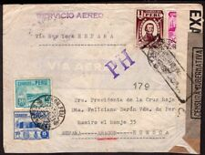 "034 PERU TO SPAIN CENSORED REGISTERED AIR COVER 1941 POSTMARK ""PH"" CAJAMARCA !!"