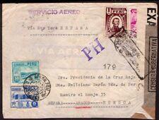"034 PERU TO SPAIN CENSORED REGISTERED AIR COVER 1941 POSTMARK ""PH"" CAJAMARCA !!"