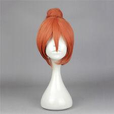 GINTAMA Kagura Orange Red Bun Short Cosplay Full Wig Hair+Wig cap+Free shipping