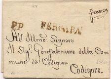 P7299   Prefilatelica, Stato Pontificio, Ferrara, lineare maiuscolo 1828