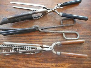 Antique Vintage Hair Curling Irons Crimper Wood Handle (lot of 3)