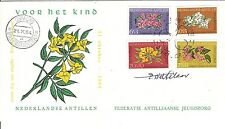 Netherlands Antilles FDC 1964 flowers SIGNED AUTOGRAPHED designer P.Wetselaar