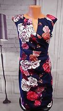 NWT Adrianna Papell Women's Blue Pleated Side Wrap Printed Sheath Dress sz 2