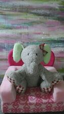 PIER 1 ONE IMPORTS GRAY ELEPHANT GREEN RED BOW PINK CHECKERS PLUSH LOVEY BABY