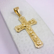 "NEW Solid 14K Yellow Gold Large Diamond Cut Nugget Cross, 10.0 grams 2.75"" long"