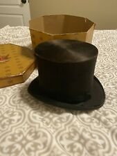 Vintage Knox New York National Silk And Fur Top Hat With Box