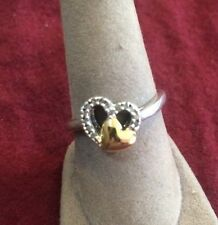Sterling Silver Diamond Heart Ring Sz 7