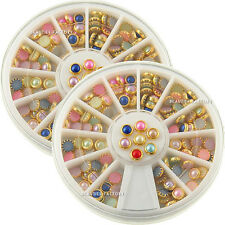 2 Wheels x 60pcs Mixed Color Pearls with Gold Metal Edge 4mm Flat Back (3020Cx2)
