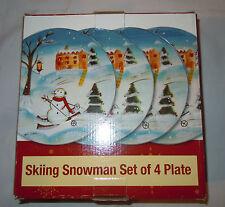 Stonelite Skiing Snowman Set of Four Plates - NEW