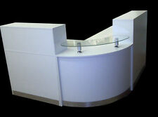 RECEPTION DESK IN WHITE HIGH GLOSS ,CURVED GLASS UNIT , ALUMIN. PLINTH .