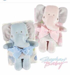 Baby Blanket Comforter Throw & Elephant Plush Toy Teddy Pink/Blue - 2 PIECE SET!