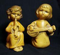 Vintage lot 2  Christmas Angels cherub Musician Figurines Playing Music Japan