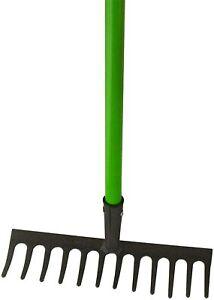 GARDEN RAKE 12 Tooth Lawn Rake Shaft Garden Handle Leaf Metal Head Carbon Steel