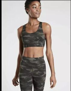 NWT Athleta Ultimate Printed Bra Camo Olive Green A-C Cup Medium M Gym Run