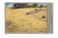 Künstlerkarte, Gemälde von Senger, Getreidefeld, Bauer, Landschaft