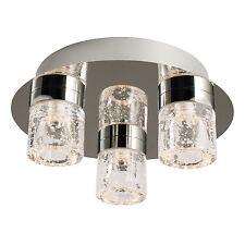 Endon Imperial flush LED bathroom ceiling light IP44 3x 4W chrome glass bubbles