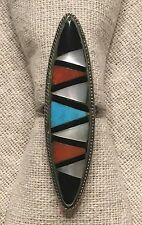 """Zuni Sterling Silver 2"""" Zigzag Inlay Ring--Turquoise Coral MOP Onyx"""