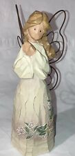 """Ganz Wood Cut Look Resin Angel with Wire Wings - Floral Dress (7.25"""" H) - Euc"""