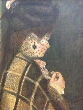 Très Belle Peinture Huile Sur Toile XIXe Jeune Fille Au Voile D Après Renoir