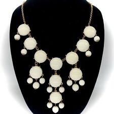 Off White Bauble Bubble Beaded Chandelier Gold Tone Statement Necklace