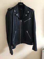 £ 650 Mens el Kooples Cuero Biker Jacket Talla L mantecoso suave