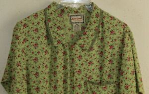 April Cornell -Sz M Fab Green 30s Small Rose Floral Charming Rayon Dress