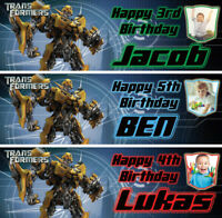 2 x personalised transformers photo birthday banner children bumble bee party