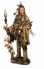 More details for large native american holding spear figurine statue indian ornament 54 cm