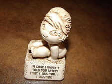 Vintage Valentine girl statue figurine I wuv you Paula made in USA gift