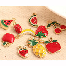 10Pcs Enamel Christmas Cherry Pineapple Fruit Charms Pendant DIY Jewelry Finding