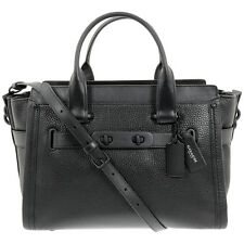 Coach Swagger Black Leather Womens Handbag 34408