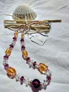 Antica Murrina Venezia Grani Murano Glass Amber&Purple Necklace