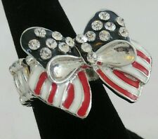 "1"" Red Blue & White AMERICAN FLAG CRYSTAL Bow Stretch Band Cocktail Ring"