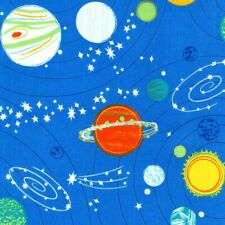 Space Planets Fabric Fat Quarter Cotton Craft Quilting Moons Solar System