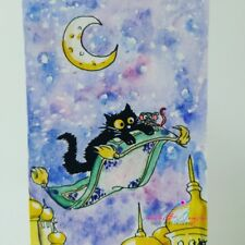 ACEO #243 ORIGINAL painting black cat mouse fantasy magic carpet Aladdin whimsi