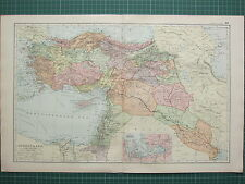 1900 LARGE VICTORIAN MAP ~ TURKEY IN ASIA ~ SMYRNA KONIA CYPRUS MOSUL