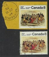Scott 575 var: 8c Indians Black double printed, on piece with normal, VF-CDS