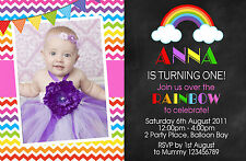 Personalised Rainbow Birthday Invitations Photo Party invites 1st 2nd FREE GIFT