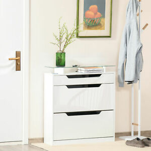 Shoe Cabinet with 3 Drawers Storage Cupboard w/ Flip Door Glass Top Gloss White