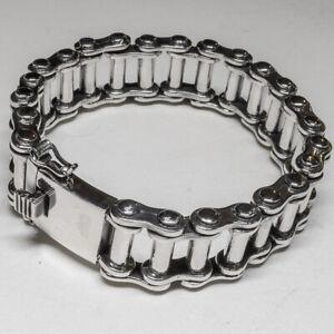 18mm Bike Chain Bracelet .925 silver bangle biker viking rock gothic metal