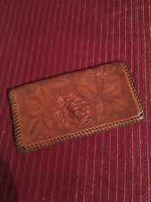 Vintage Wells Fargo Leather Tooled Embosed Checkbook Wallet Check Book Roses