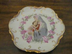Collectible Vintage Religious Plate - Madonna - Virgin Mary - Gilt Edge