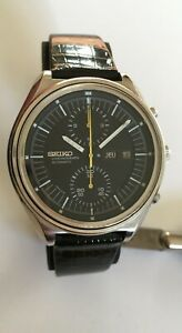 Vintage Seiko 6138-3005 Chronograph Automatic Watch French Date Black Dial