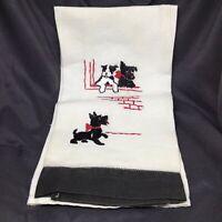 Vintage Embroidered SCOTTISH TERRIER Linen Kitchen Dish Hand Towel Scottie