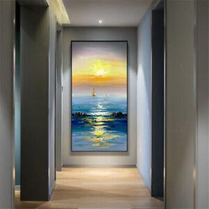 "LL1119 Decor art canvas Hand-painted Seascape oil painting set sail Unframed 48"""