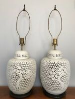 VTG Pair Blanc de Chine Reticulated Ceramic Lamps White Hollywood Regency MCM