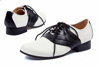 """ELLIE 105-SADDLE 1"""" Heel Womens Saddle Shoe Lace Up Oxford 50's Shoes"""