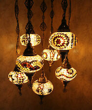 Turkish Moroccan Style Mosaic Multicolour Hanging Lamp Light 7 Large Globe